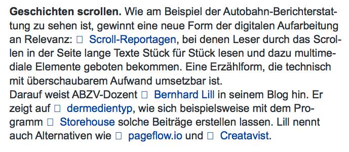 Der September-Newsletter der ABZV erwähnt Bernhard Lills Blogbeitrag über Multimediale Erzählformen im Lokaljournalismus.