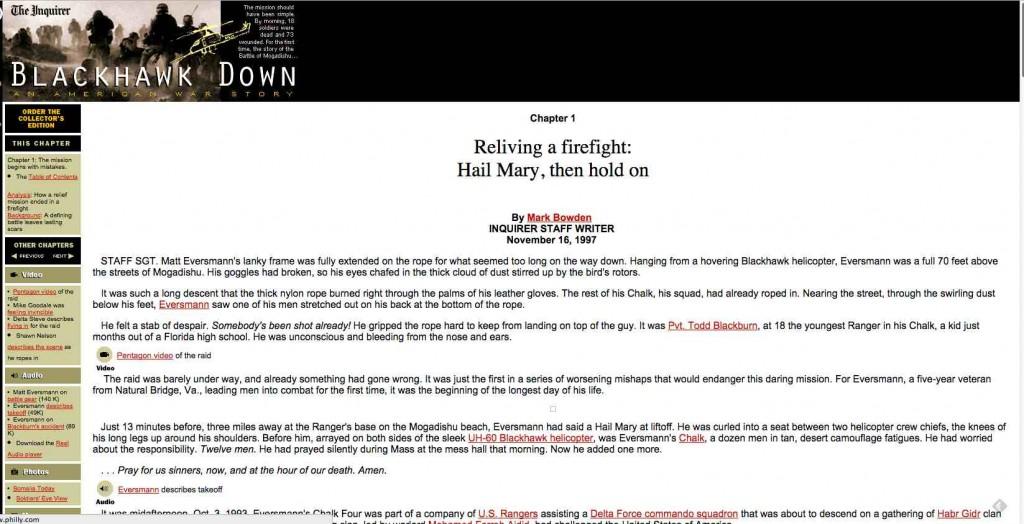 Black Hawk Down: eine der ersten Multimedia-Reportagen.