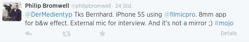 Filmen mit dem iPhone 5s: Die Journalisten Bernhard Lill und Philip Bromwell tauschen sich über Twitter aus.