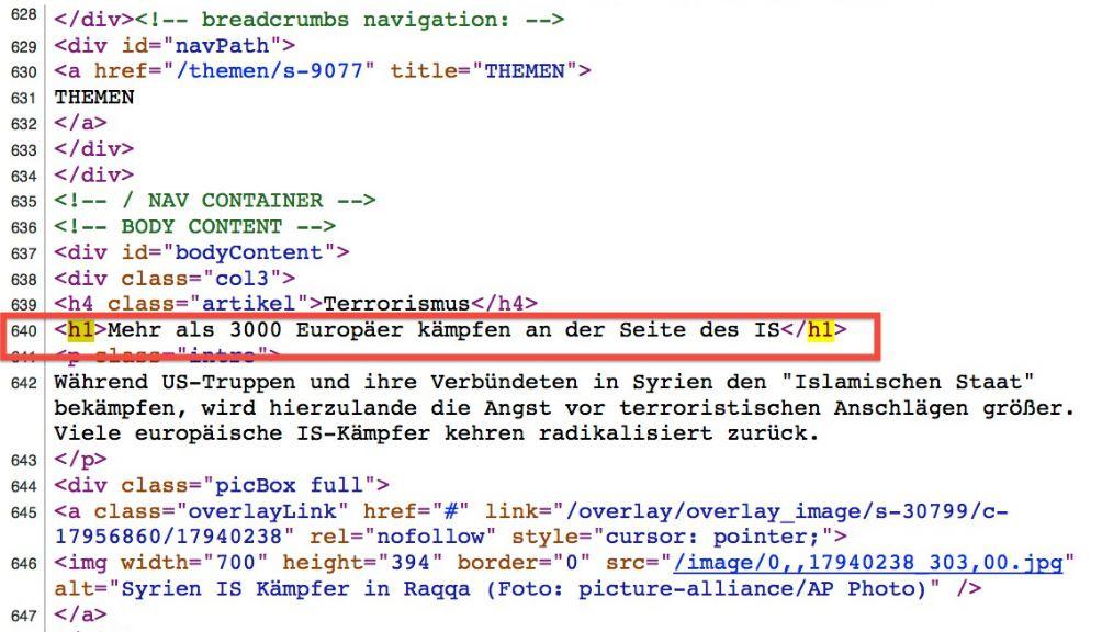 SEO: Der Seitenquelltext gibt Auschluss über die H1, die wichtigste Überschrift für Google.