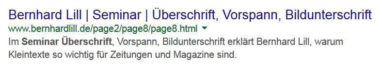 Die Meta-Description oder Seitenbeschreibung erscheint im Google-Suchergebnis. Sie fasst den Seiteninhalt zusammen und ist nicht länger als 155 Anschläge.