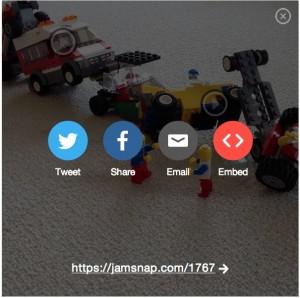Die Share-Funktionen der App JamSnap im Überblick
