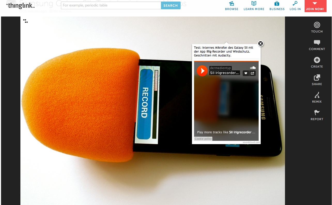 Kurztest des internen Mikrofons des Samsung Galaxy SII